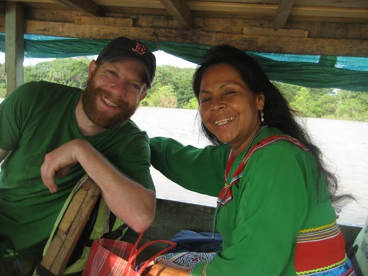 Ron and Elisa on a boat ride to Pucallpa