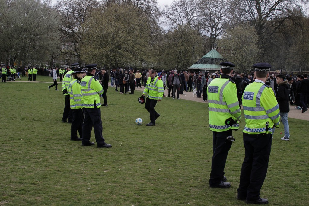 Police on the sidelines of Hyde Park on 4/20. By Jamie White.
