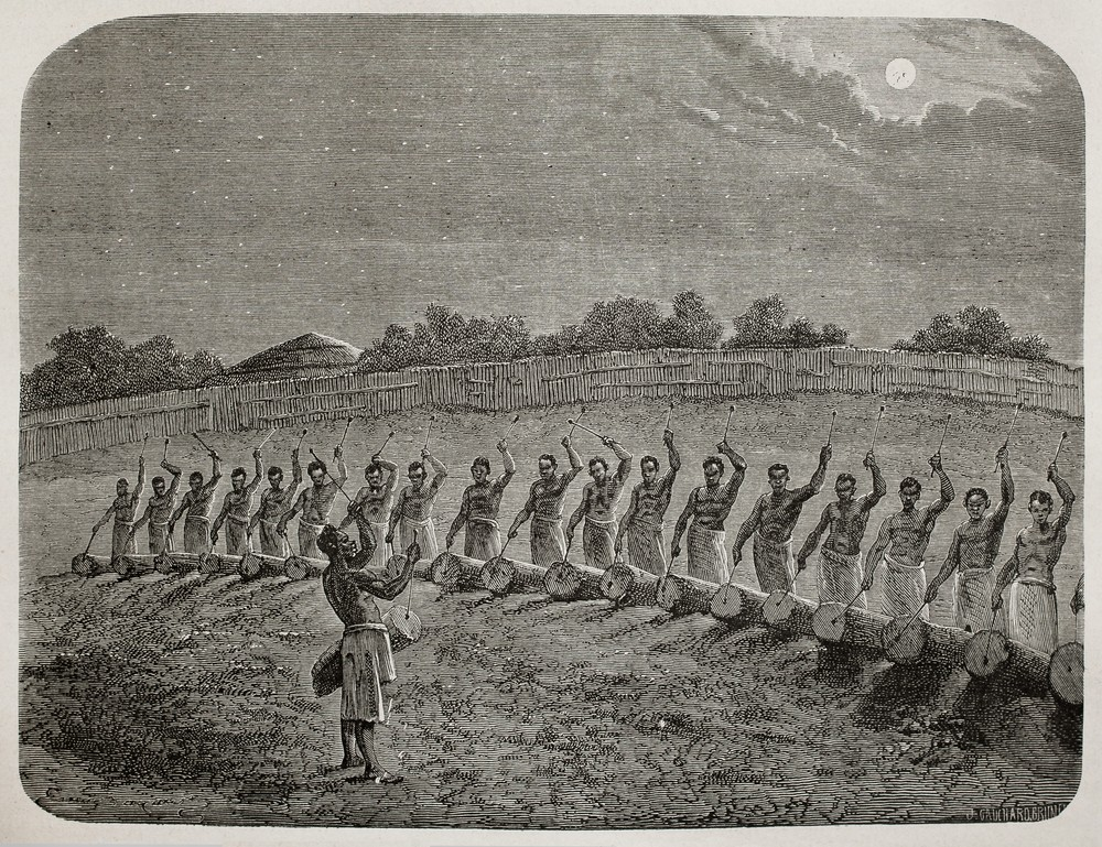 Photo: Old illustration of tribal drummers greeting new moon in Victoria lake region by Bayard, Gauchard and Bruno, published on Le Tour du Monde, Paris, 1864. Via:  Marzolino | Shutterstock