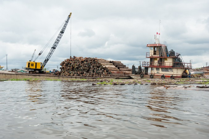 Photo: Old-growth lumberyards on the banks of the Amazon River. Via: Tracey Eller.