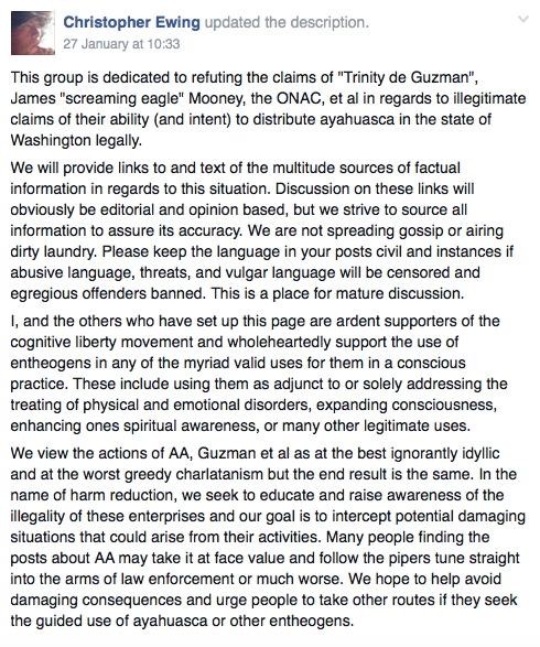 """Description of the """"Ayahuasca Healings is NOT legal"""" Facebook page, which was updated by page administrator Christopher Ewing on January 27, 2016."""