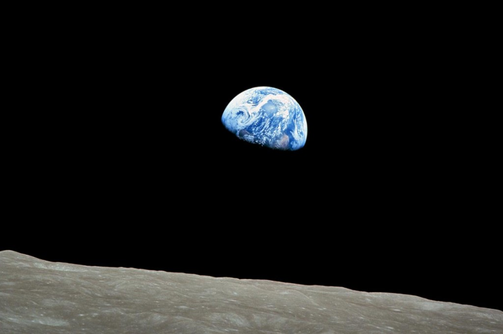 Famous Earthrise photo from the Apollo 8 Mission, 1968.